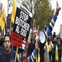 تصویر تظاهرات مخالفان سفر سیسی به انگلیس در لندن