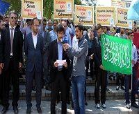تظاهرات اعتراض آمیز به حکم اعدام محمد مرسی در اتریش و آمریکا