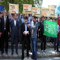 تصویر تظاهرات اعتراض آمیز به حکم اعدام محمد مرسی در اتریش و آمریکا