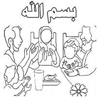 تصویر آداب و دعای غذا خوردن با شعر کوردی و نقاشی