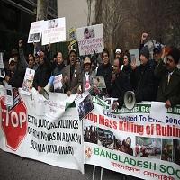 تصویر تجمع مقابل مقر سازمان ملل در اعتراض به کشتار در میانمار
