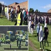 تصویر حمله به مسلمانان در مراسم عید فطر در نیوکسل انگلیس