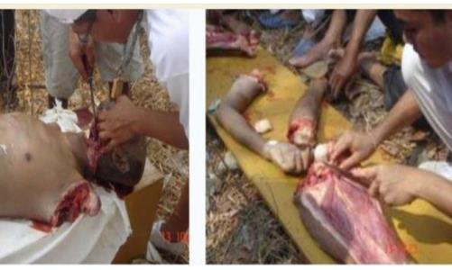 تصویر خوردن اعضای بدن مسلمانان در آفریقای مرکزی