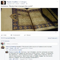 تصویر حمایت پائولو کوئلیو از قرآن در فیسبوک