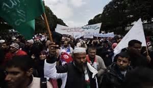 تصویر تظاهرات مردم تونس در حمایت از اخوان المسلمین مصر