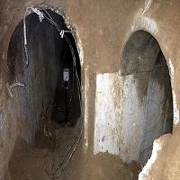 تصویر تخریب یک تونل در مرز نوار غزه توسط ارتش مصر