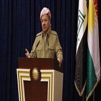 تصویر بارزانی حمله پ.ی.د به مراسم روز پرچم کردستان را به شدت محکوم کرد