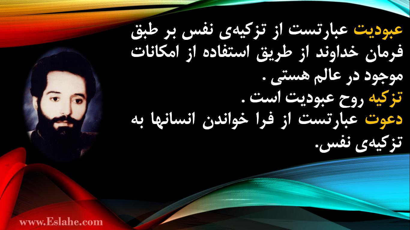 تصویر عکس نوشته : عبودیت، تزکیه، دعوت ، استاد شهید ناصر سبحانی